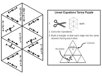 Solving Linear Equations Game: Math Tarsia Puzzle by
