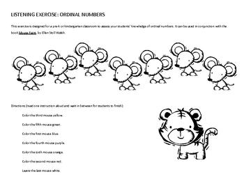 Listening Activity: Ordinal numbers (for preschool