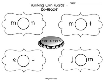 Literacy Center { bottle cap word work } by victoria moore
