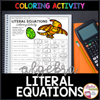 Writing Literal Equations Coloring Activity By Algebra Accents TpT