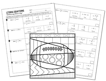 Literal Equations Coloring Activity by All Things Algebra