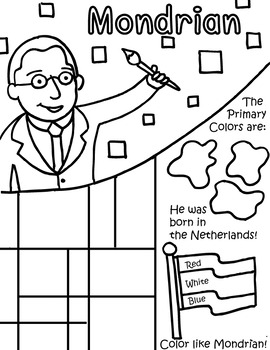 Little Artist Coloring Page- Mondrian by Primary Painters