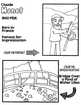 Little Artists Coloring Page- Claude Monet by Primary