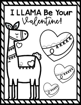 Llama Valentine's Day Coloring Sheets by Jamie Crofoot