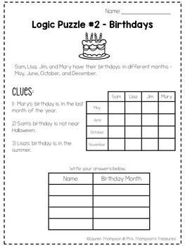 Logic Puzzles Critical Thinking Activities by Mrs Thompson