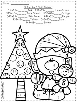 Long Division Color-By-Number Christmas Themed by