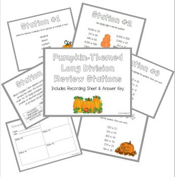 Long Division Review Stations ~ Pumpkin Theme for Fall