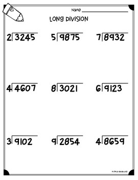 Long Division Worksheets (4.NBT.B6 & 5.NBT.B6) by Monica