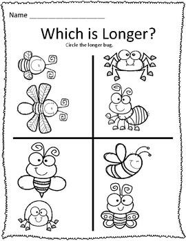 Long & Short Bug Measurement Worksheets by AddingToTheFun