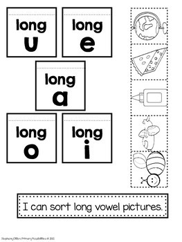 Long Vowel Interactive Notebook Activities by Stephany
