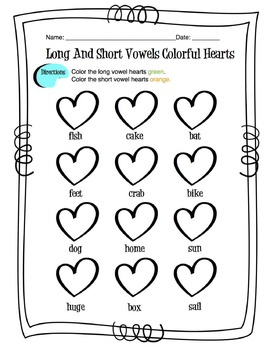 Long and Short Vowel Coloring Worksheets by Sunny Side Up