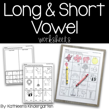 Long and Short Vowel Worksheets by Kathleen G's