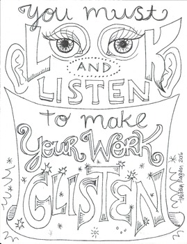 Look and Listen coloring sheet by The Lost Sock Art