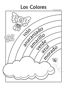 Los Colores Spanish Colors Rainbow Coloring Page by Miss