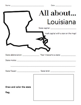Louisiana State Facts Worksheet: Elementary Version by The