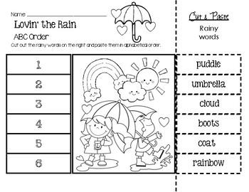 Lovin' the Rain ABC Order Worksheet by Little Learning