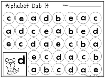 Lowercase Alphabet Dab It Worksheets. Preschool-KDG