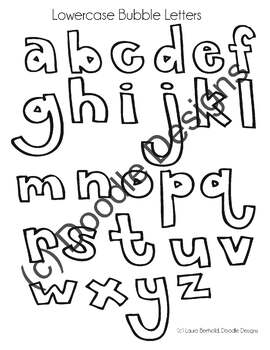 Lowercase Bubble Letter Reference Sheet by Doodle Designs