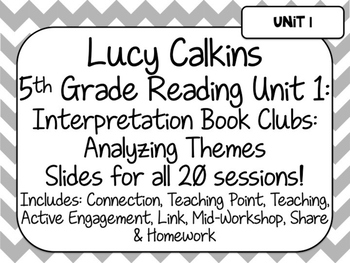 Lucy Calkins Unit Plans: 5th Grade Reading Unit 1