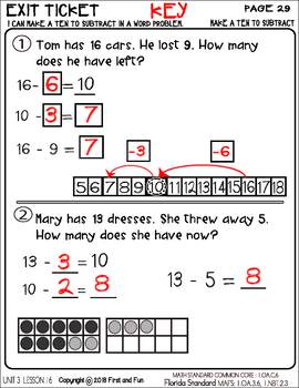 MAKE A TEN TO SUBTRACT UNIT 3 LESSON 16 WORKSHEET POSTER
