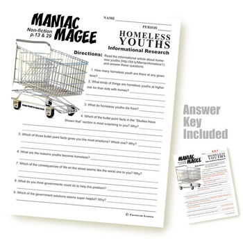 MANIAC MAGEE Homeless Youths Nonfiction by Created for