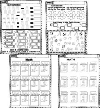 MATH Kindergarten First Grade Practice Review * Homeschool
