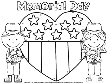 MEMORIAL DAY MATH Coloring Activity by Teachers R Us