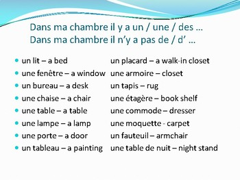 Ma chambre French bedroom il y a expression colors prepositions of place
