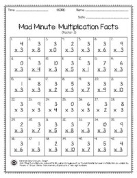 Mad Minute Multiplication Facts Worksheet 0