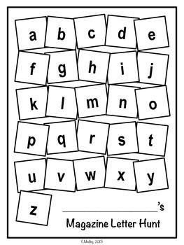 Magazine Letter Hunt Worksheets, Literacy Center by