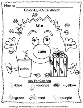 Magic E Reading & Fun ~Color By CVCe Word~ A Phonics