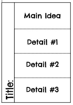 Main Idea Flip Template for Reading Response Journals or