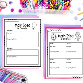 Main Idea Graphic Organizers (Reading Response Worksheets