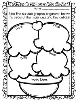 Main Idea Ice Cream Sundaes Activity Pack by Mrs Cain's