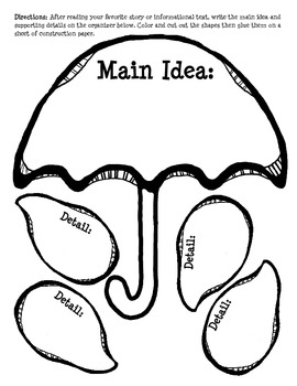 Main Idea Posters and Umbrella Craftivity RI.2.2, RI.3.2
