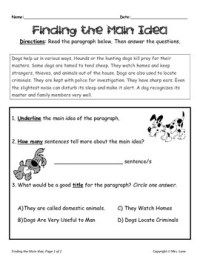 Elementary Main Idea Worksheets by Mrs. Lane | Teachers ...