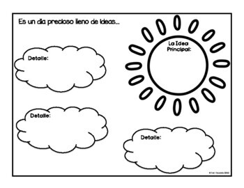 Main Idea Task Cards and Graphic Organizer (Spanish