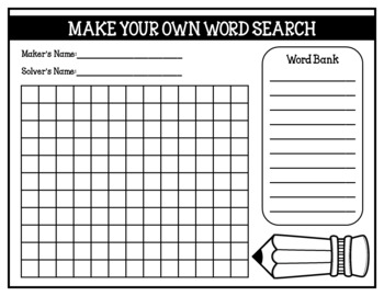 Make Your Own Word Search (Student Created Word Searches