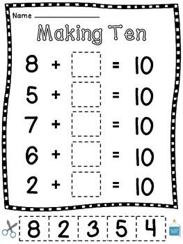 Making 10 Worksheets (15 Make a 10 Cut Sort Paste Practice