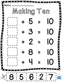 Making 10 Worksheets (15 Make a 10 Cut Sort Paste Practice