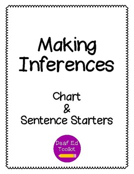 Making Inferences: Chart & Sentence Starters by Deaf Ed