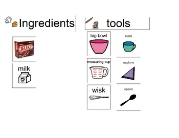 Making Pudding Visual Recipe for the Classroom by