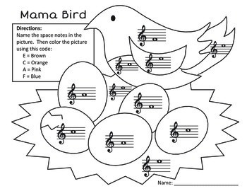 Mama Bird Treble Clef Space Note Identification Coloring