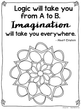 Mandala Coloring Pages with Einstein Quotes by Winged One
