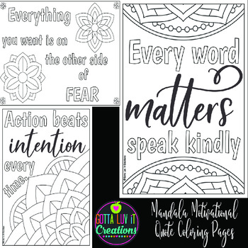 Mandala Motivational Coloring Pages 10 PDFs by Gotta Luv