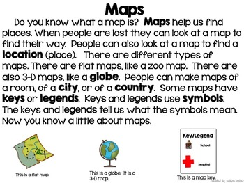 Map Skills Common Core Reading and Writing Unit by Valerie