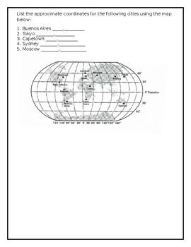 Map Skills Practice Quiz Longitude Latitude by B Mama