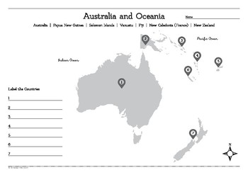 Map of Australia and Oceania Worksheet by Campaign