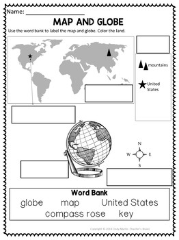 Maps and Globes for Kindergarten and 1st Grade Activities