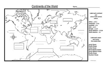 Maps of the Continents of the World For Students to Label
